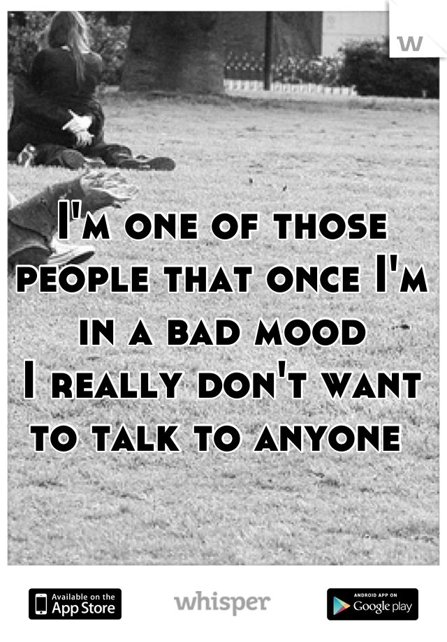 I'm one of those people that once I'm in a bad mood  I really don't want to talk to anyone