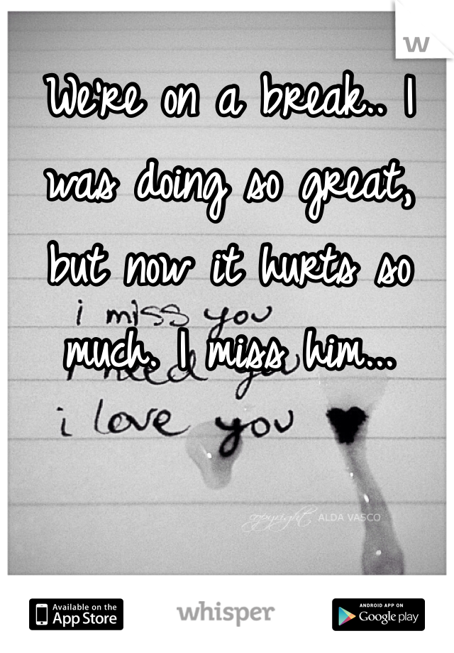 We're on a break.. I was doing so great, but now it hurts so much. I miss him...