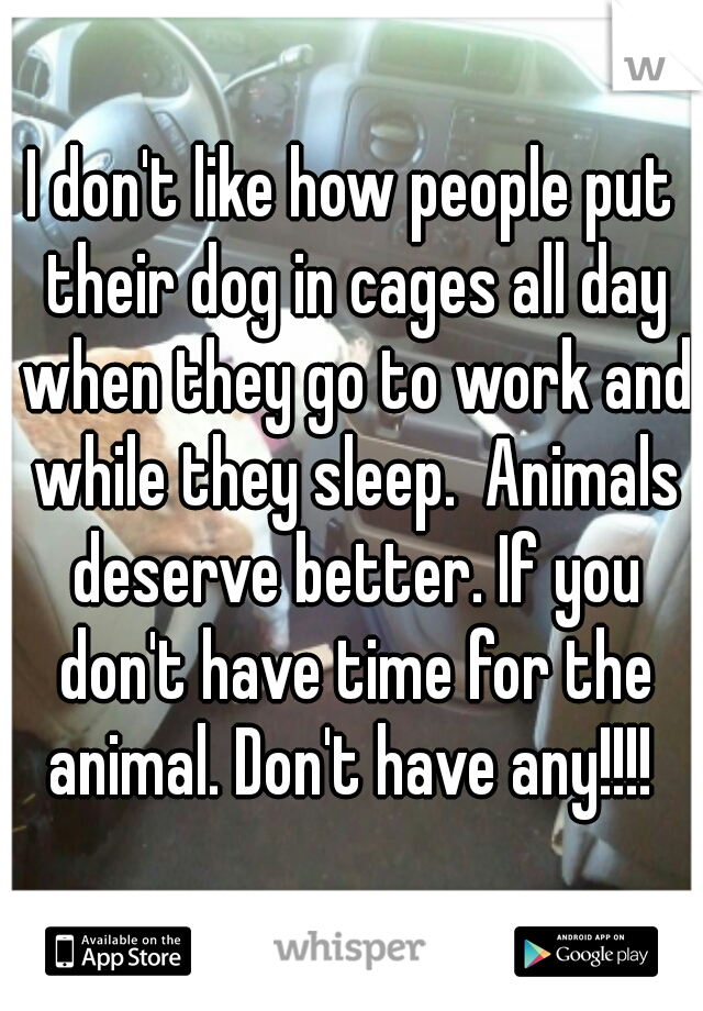 I don't like how people put their dog in cages all day when they go to work and while they sleep.  Animals deserve better. If you don't have time for the animal. Don't have any!!!!