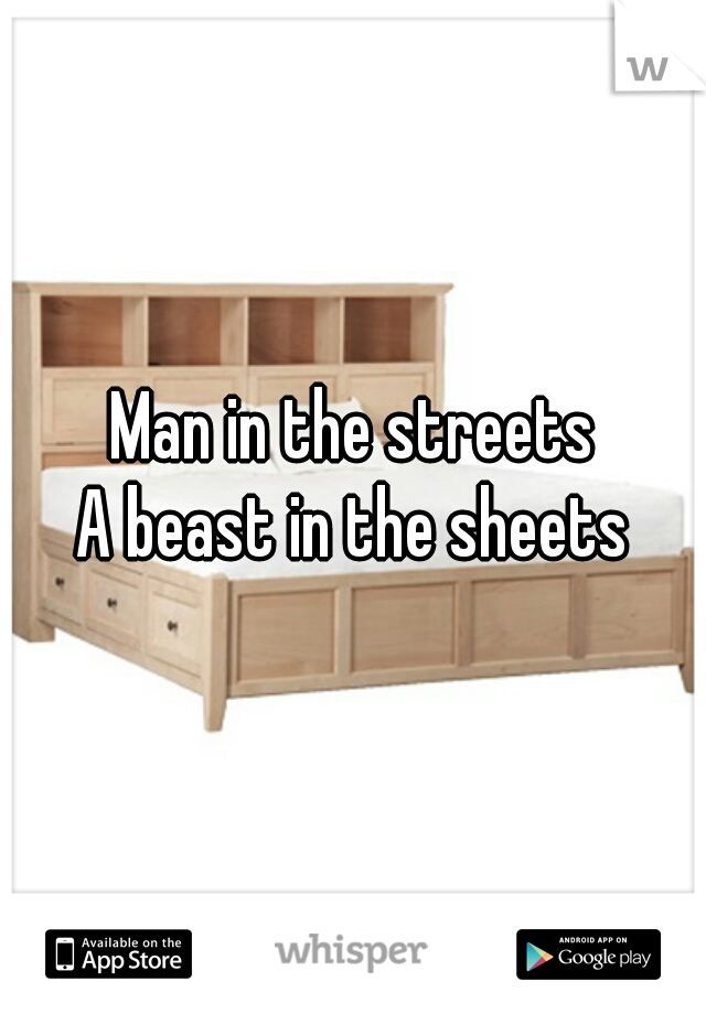 Man in the streets A beast in the sheets