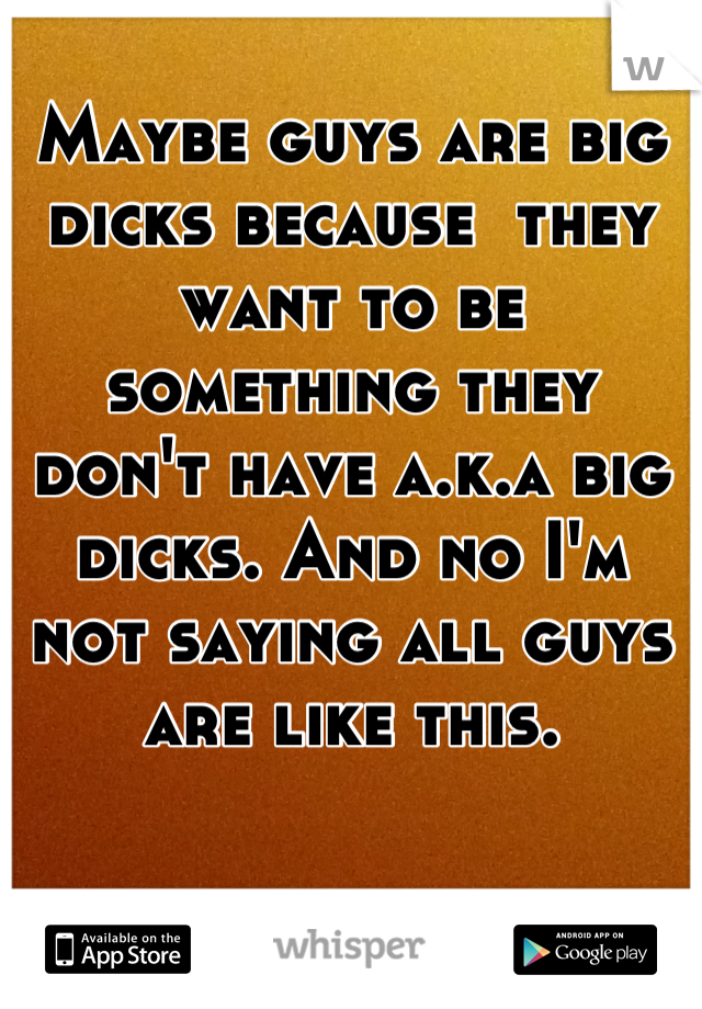 Maybe guys are big dicks because  they want to be something they don't have a.k.a big dicks. And no I'm not saying all guys are like this.