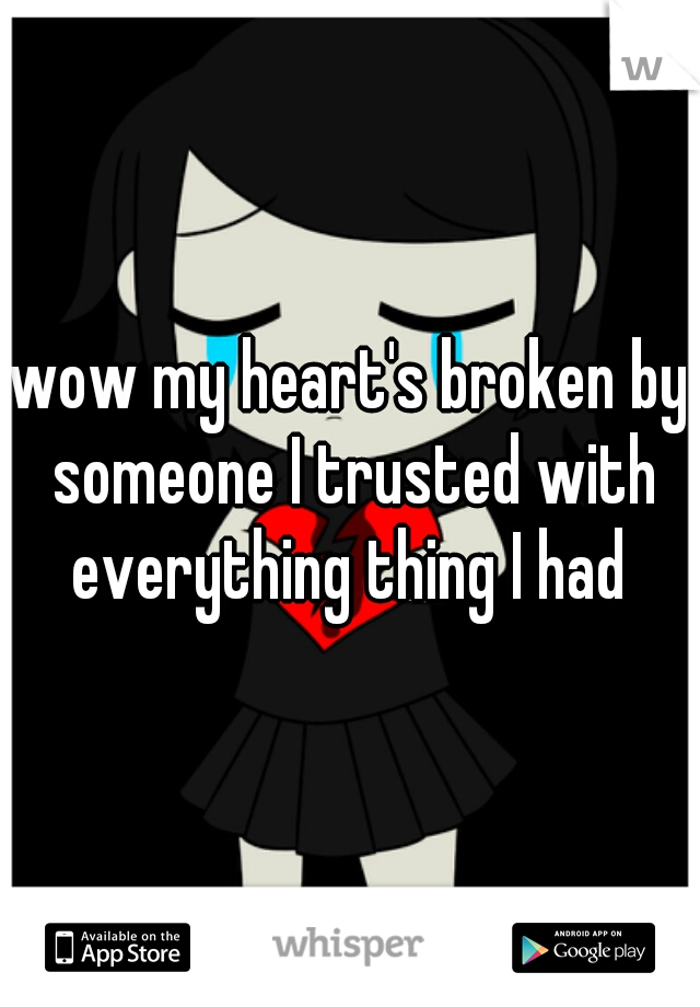 wow my heart's broken by someone I trusted with everything thing I had