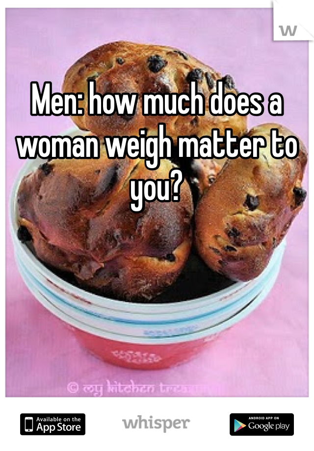 Men: how much does a woman weigh matter to you?