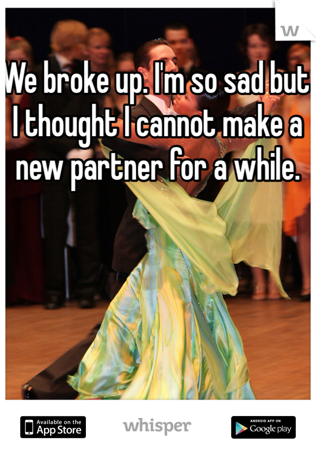 We broke up. I'm so sad but I thought I cannot make a new partner for a while.