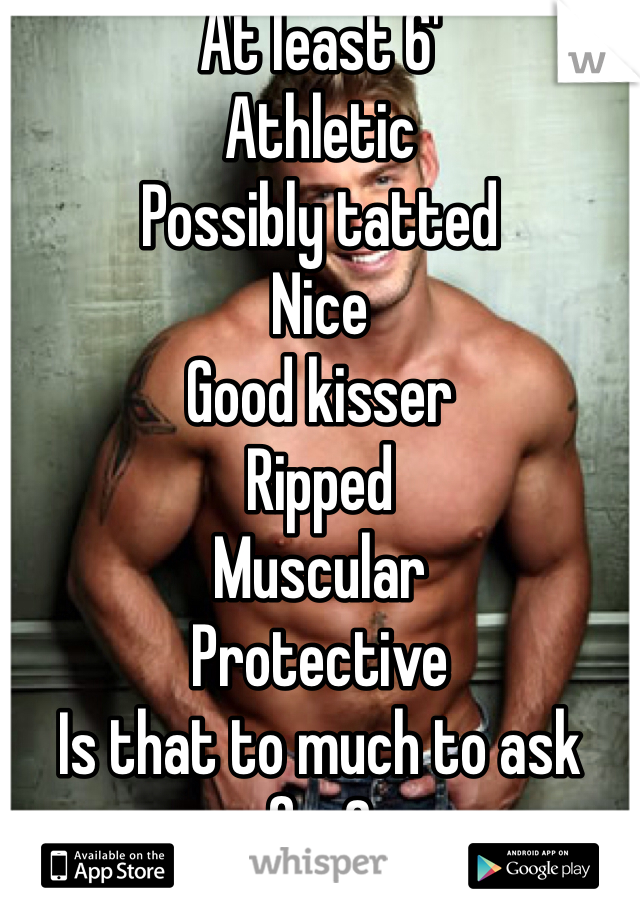 At least 6' Athletic Possibly tatted Nice  Good kisser Ripped Muscular Protective Is that to much to ask for?