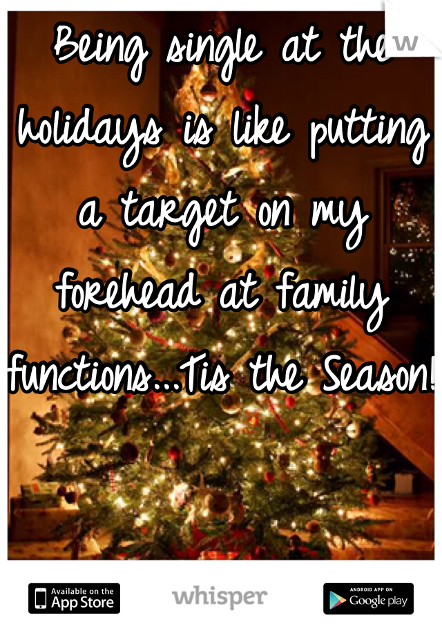 Being single at the holidays is like putting a target on my forehead at family functions...Tis the Season!