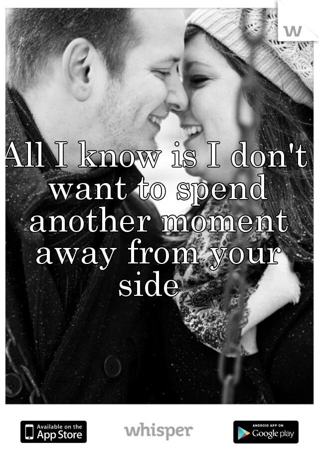 All I know is I don't want to spend another moment away from your side