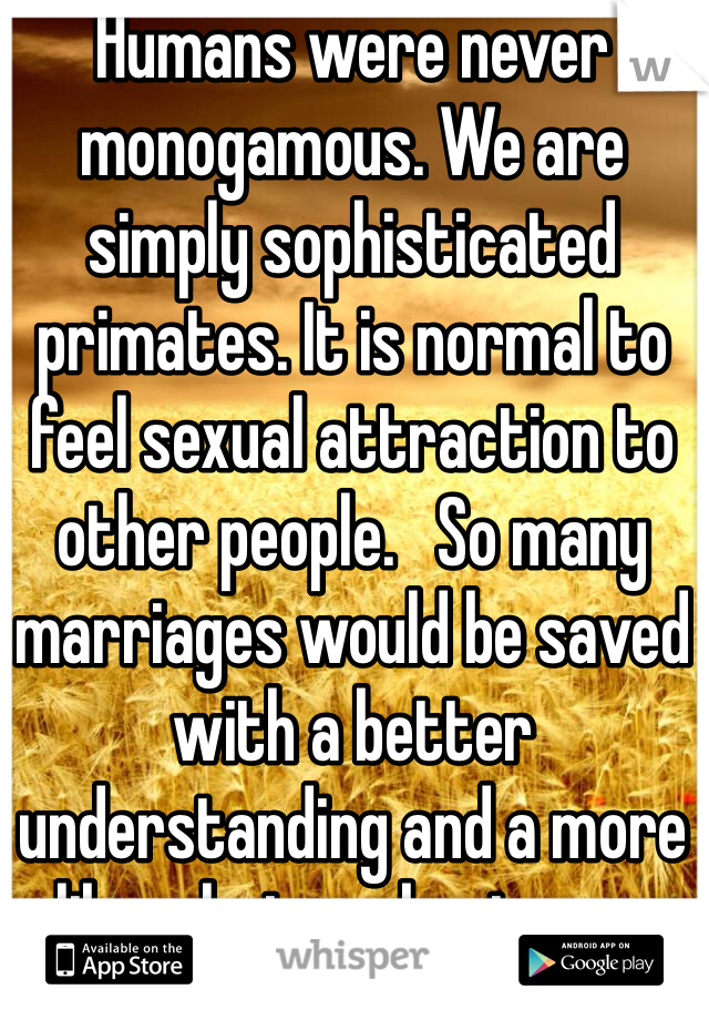 Humans were never monogamous. We are simply sophisticated primates. It is normal to feel sexual attraction to other people.   So many marriages would be saved with a better understanding and a more liberal view about sex .