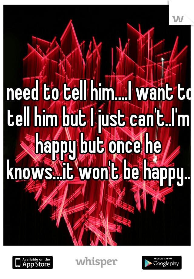 I need to tell him....I want to tell him but I just can't..I'm happy but once he knows...it won't be happy..