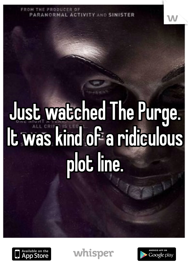 Just watched The Purge. It was kind of a ridiculous plot line.