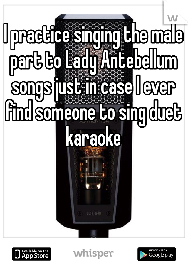 I practice singing the male part to Lady Antebellum songs just in case I ever find someone to sing duet karaoke