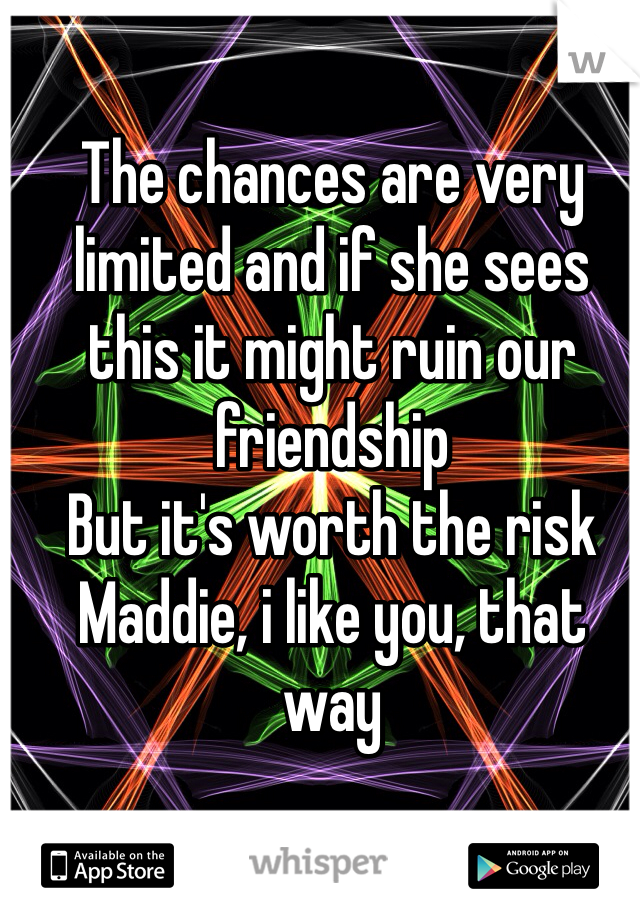 The chances are very limited and if she sees this it might ruin our friendship But it's worth the risk Maddie, i like you, that way
