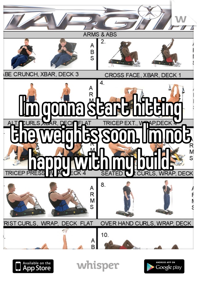 I'm gonna start hitting the weights soon. I'm not happy with my build.
