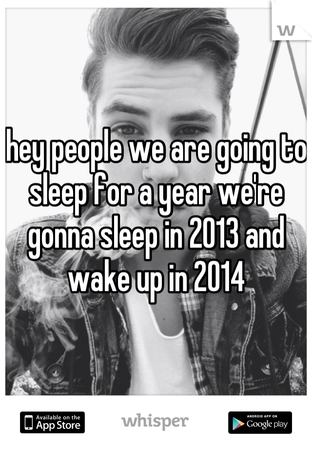 hey people we are going to sleep for a year we're gonna sleep in 2013 and wake up in 2014