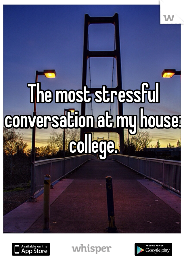 The most stressful conversation at my house: college.