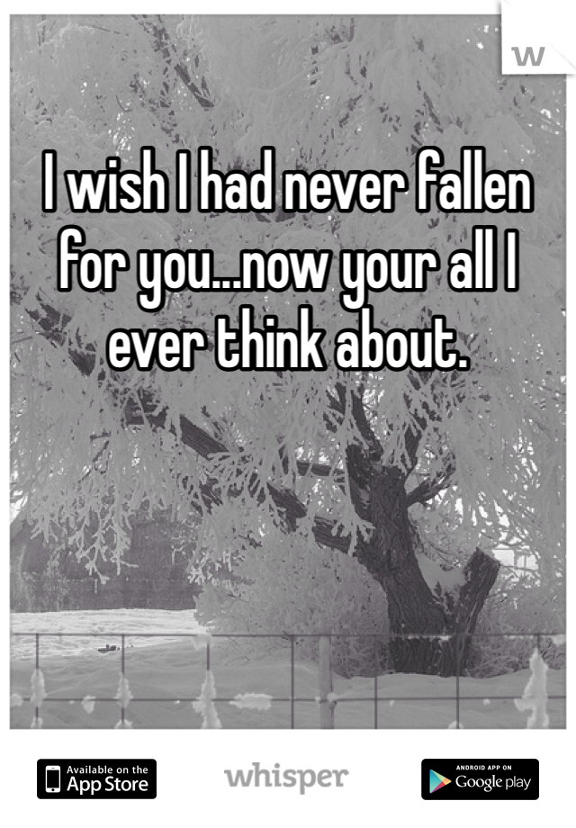 I wish I had never fallen for you...now your all I ever think about.