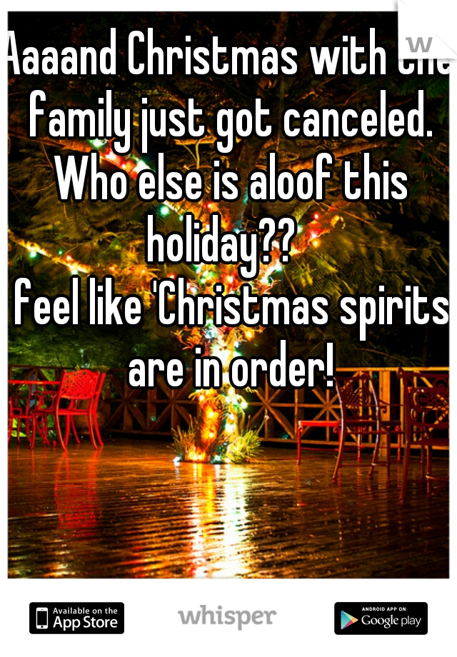 Aaaand Christmas with the family just got canceled. Who else is aloof this holiday??    I feel like 'Christmas spirits' are in order!