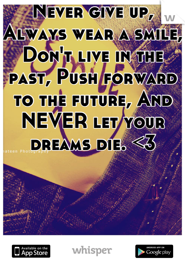 Never give up, Always wear a smile, Don't live in the past, Push forward to the future, And NEVER let your dreams die. <3