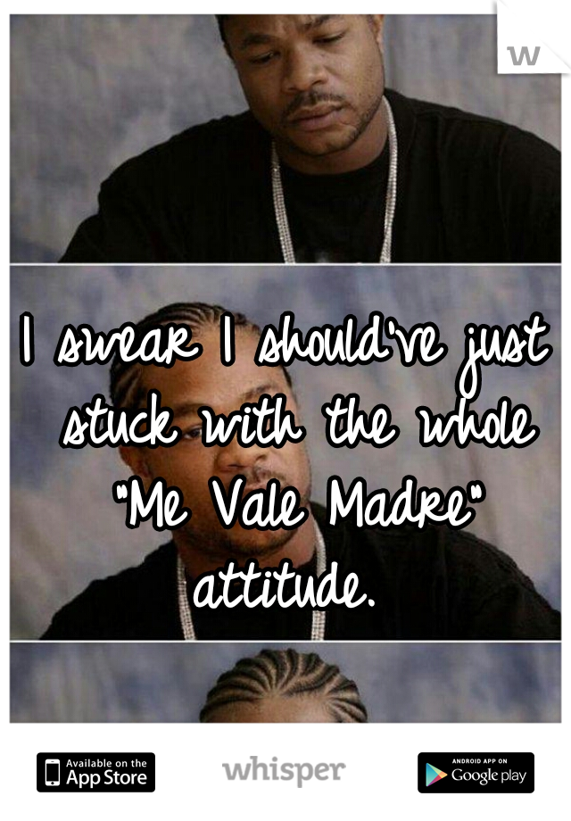 """I swear I should've just stuck with the whole """"Me Vale Madre"""" attitude."""