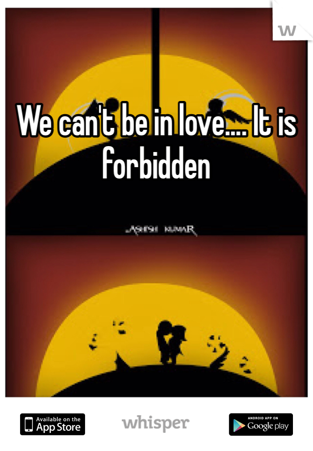 We can't be in love.... It is forbidden