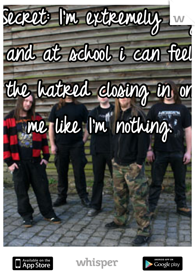 Secret: I'm extremely shy and at school i can feel the hatred closing in on me like I'm nothing.