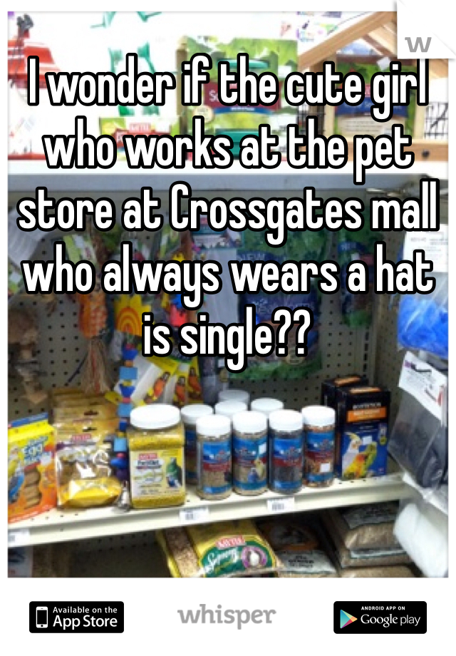 I wonder if the cute girl who works at the pet store at Crossgates mall who always wears a hat is single??