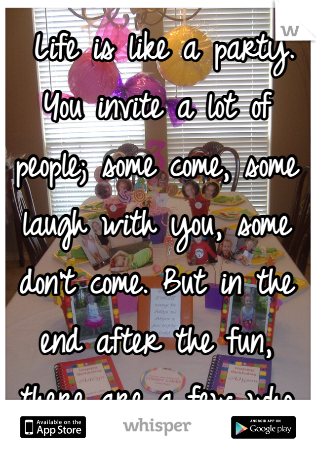 Life is like a party. You invite a lot of people; some come, some laugh with you, some don't come. But in the end after the fun, there are a few who clean up the mess with you. Those are usually the uninvited ones...