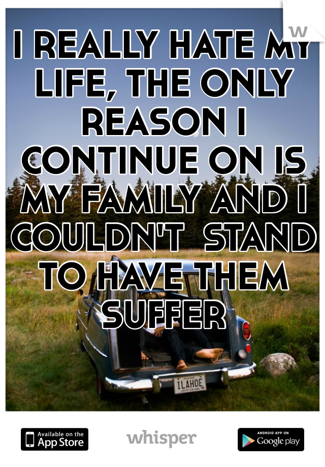 I REALLY HATE MY LIFE, THE ONLY REASON I CONTINUE ON IS MY FAMILY AND I COULDN'T  STAND TO HAVE THEM SUFFER