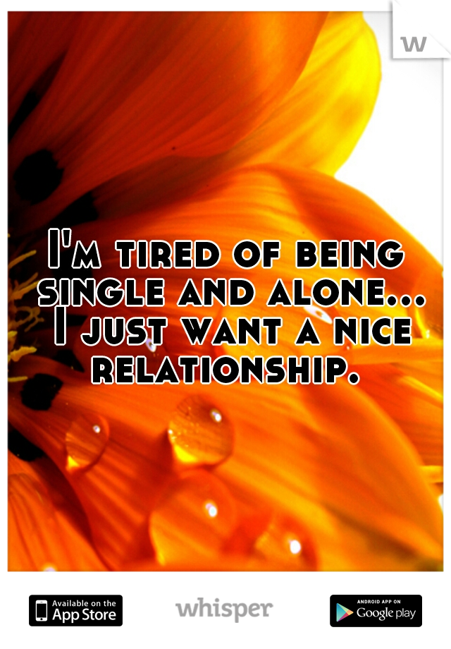 I'm tired of being single and alone... I just want a nice relationship.