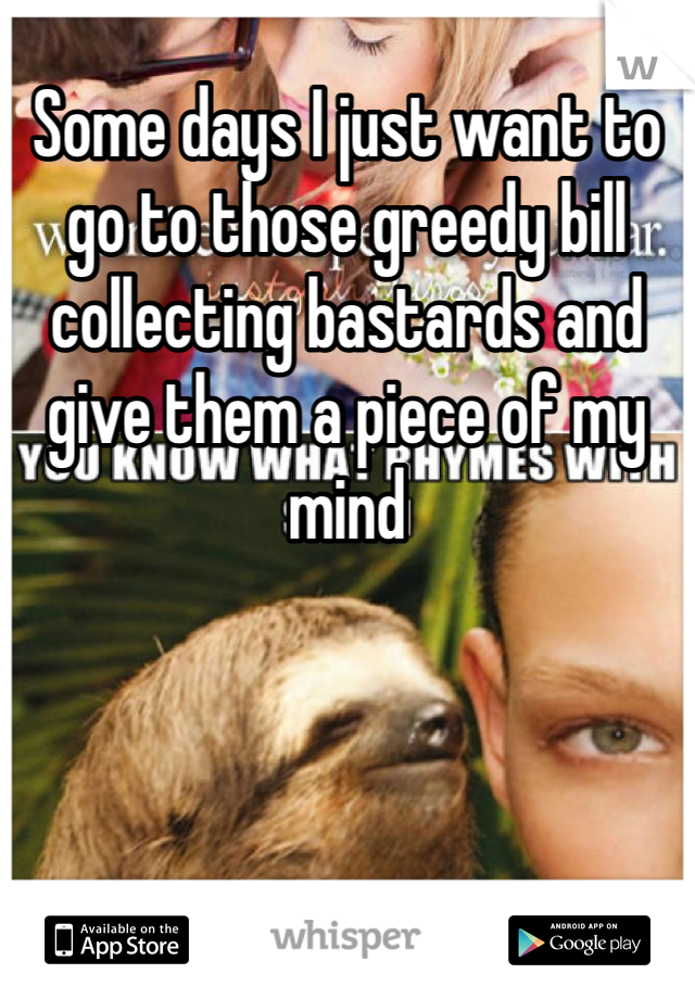 Some days I just want to go to those greedy bill collecting bastards and give them a piece of my mind