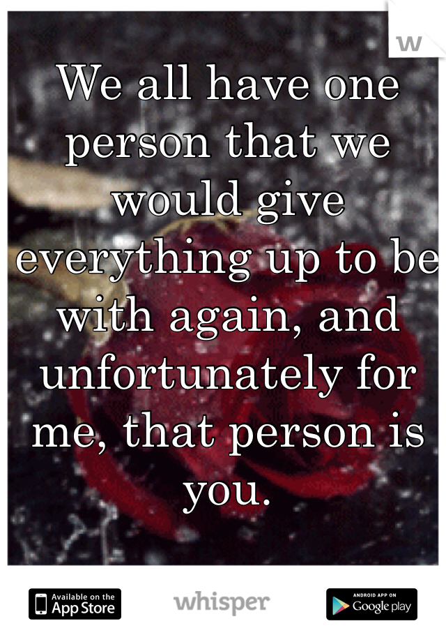 We all have one person that we would give everything up to be with again, and unfortunately for me, that person is you.