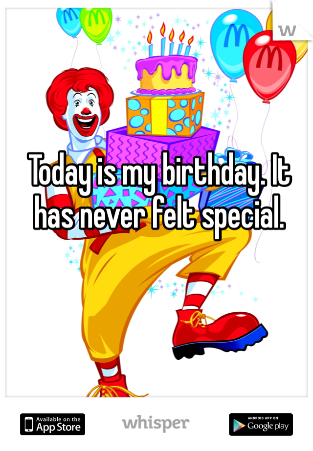 Today is my birthday. It has never felt special.