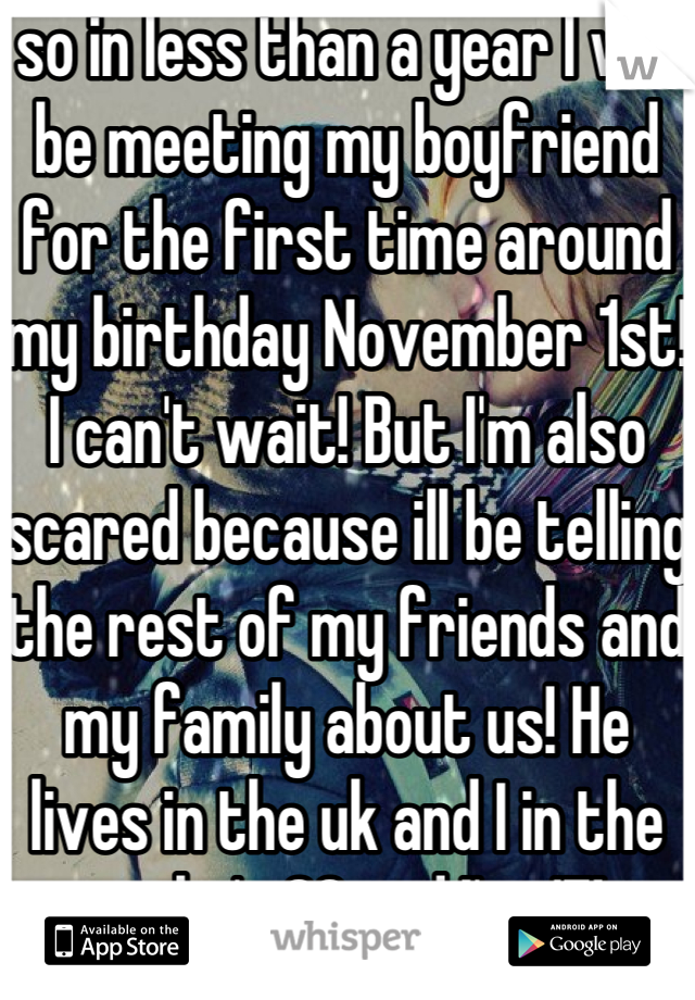 so in less than a year I will be meeting my boyfriend for the first time around my birthday November 1st! I can't wait! But I'm also scared because ill be telling the rest of my friends and my family about us! He lives in the uk and I in the us, he's 28 and I'm 17!
