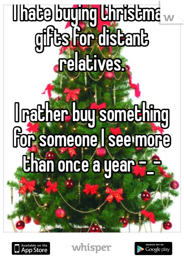 I hate buying Christmas gifts for distant relatives.  I rather buy something for someone I see more than once a year -_-