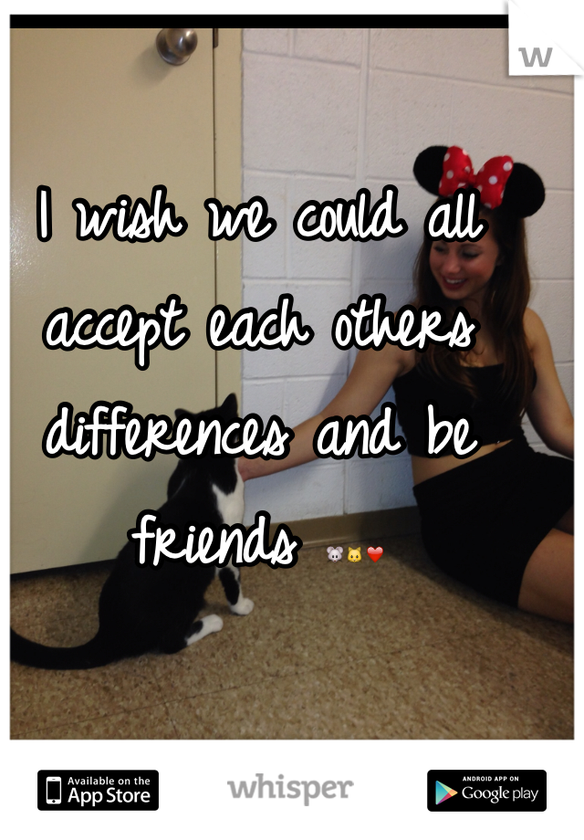 I wish we could all accept each others differences and be friends 🐭🐱❤