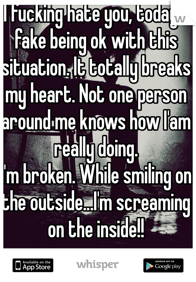 I fucking hate you, today! I fake being ok with this situation. It totally breaks my heart. Not one person around me knows how I'am really doing. I'm broken. While smiling on the outside...I'm screaming on the inside!!