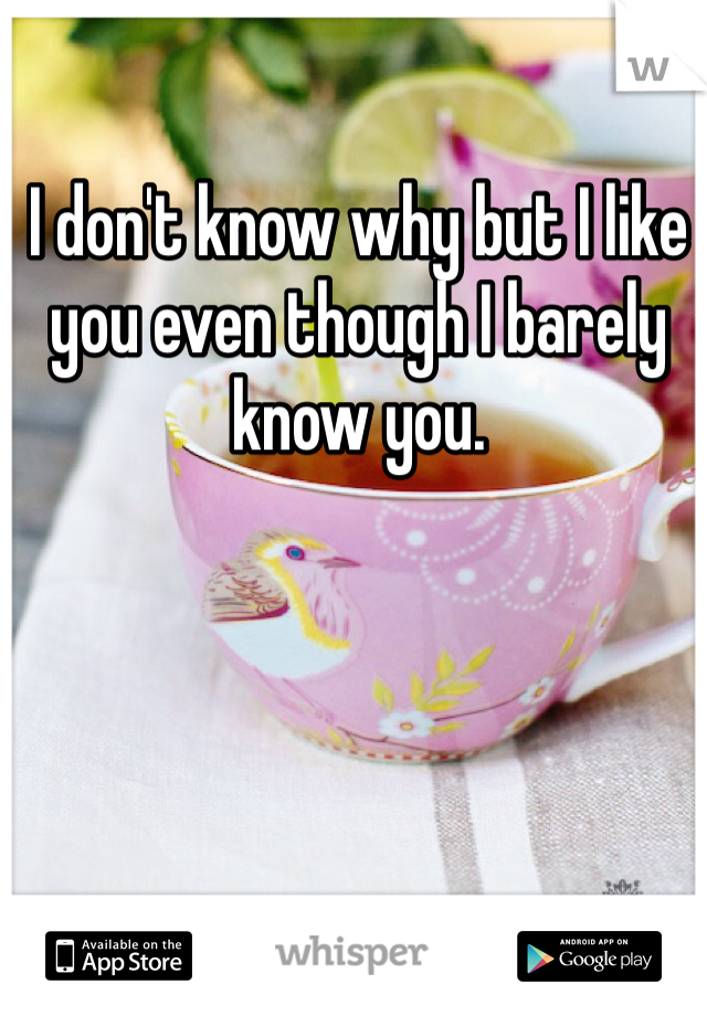 I don't know why but I like you even though I barely know you.