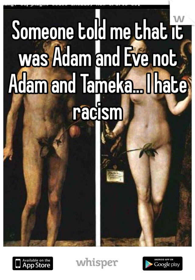 Someone told me that it was Adam and Eve not Adam and Tameka... I hate racism