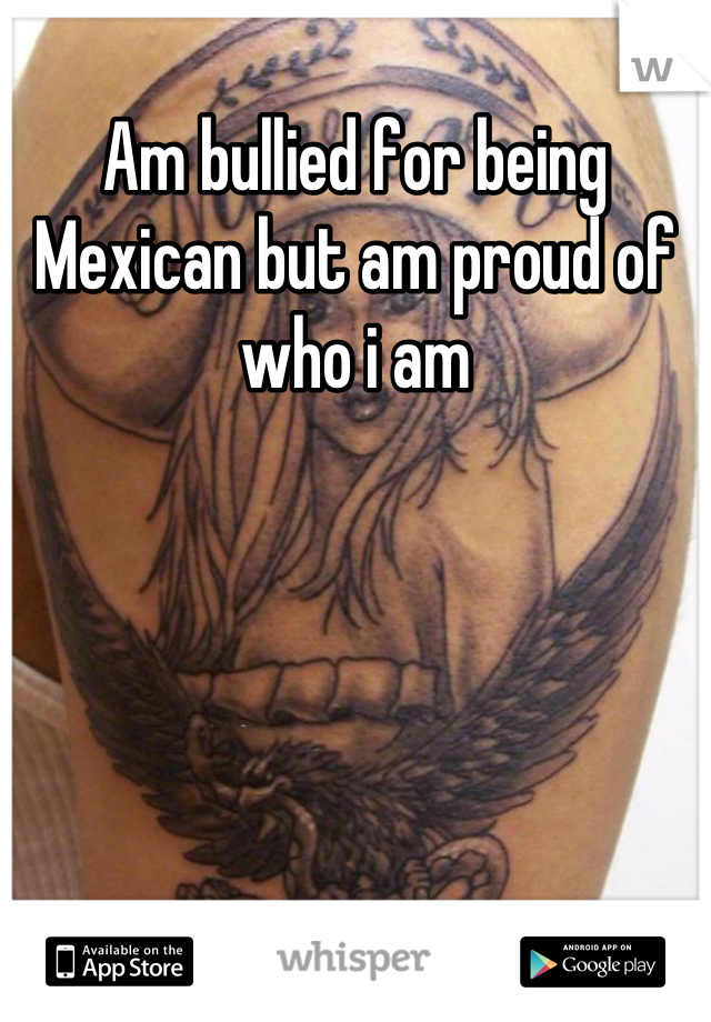 Am bullied for being Mexican but am proud of who i am