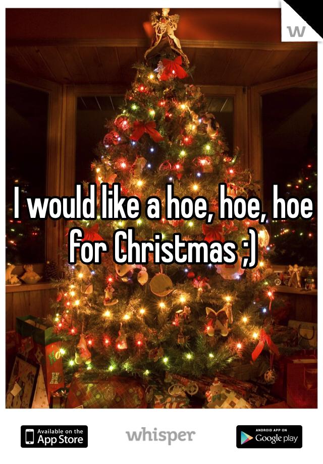 I would like a hoe, hoe, hoe for Christmas ;)