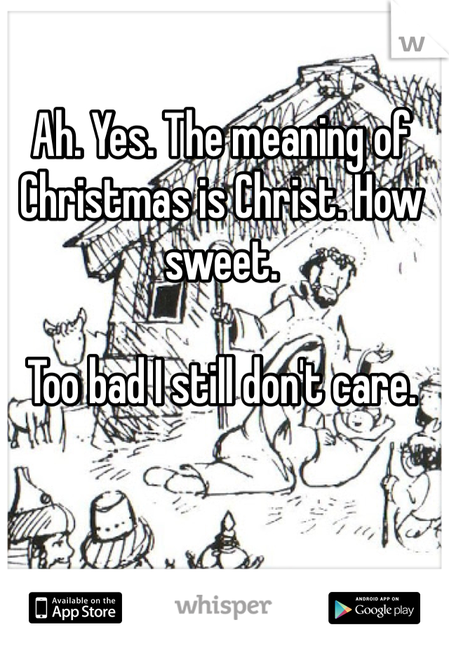 Ah. Yes. The meaning of Christmas is Christ. How sweet.   Too bad I still don't care.