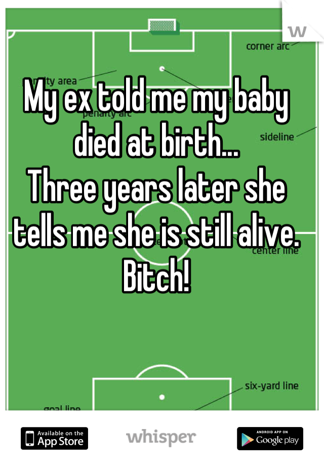 My ex told me my baby died at birth... Three years later she tells me she is still alive.  Bitch!