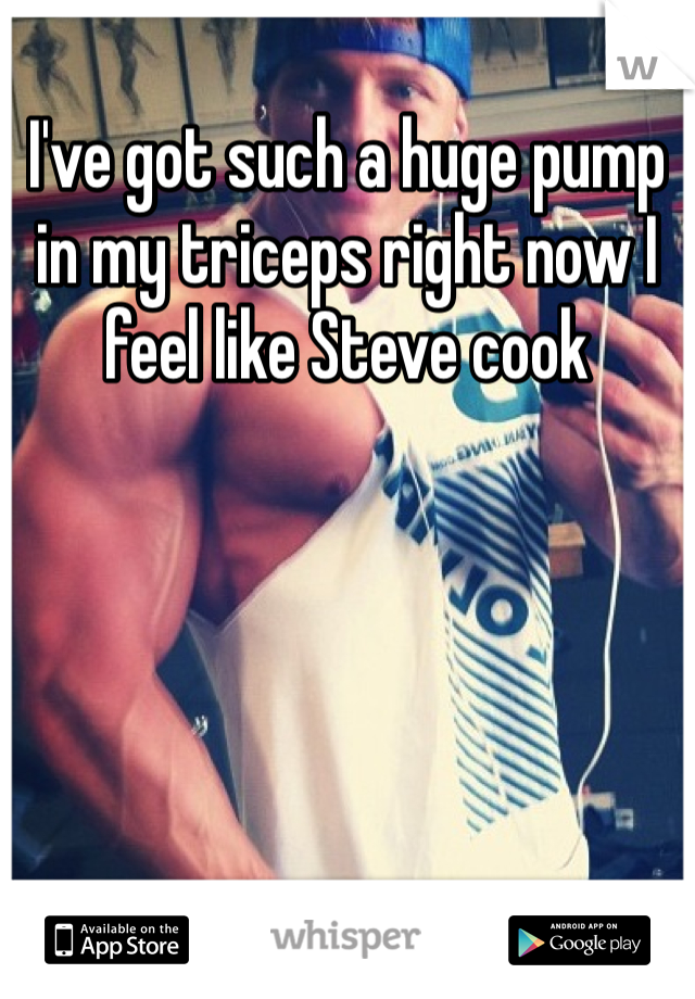 I've got such a huge pump in my triceps right now I feel like Steve cook