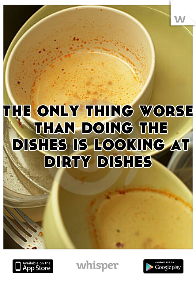 the only thing worse than doing the dishes is looking at dirty dishes