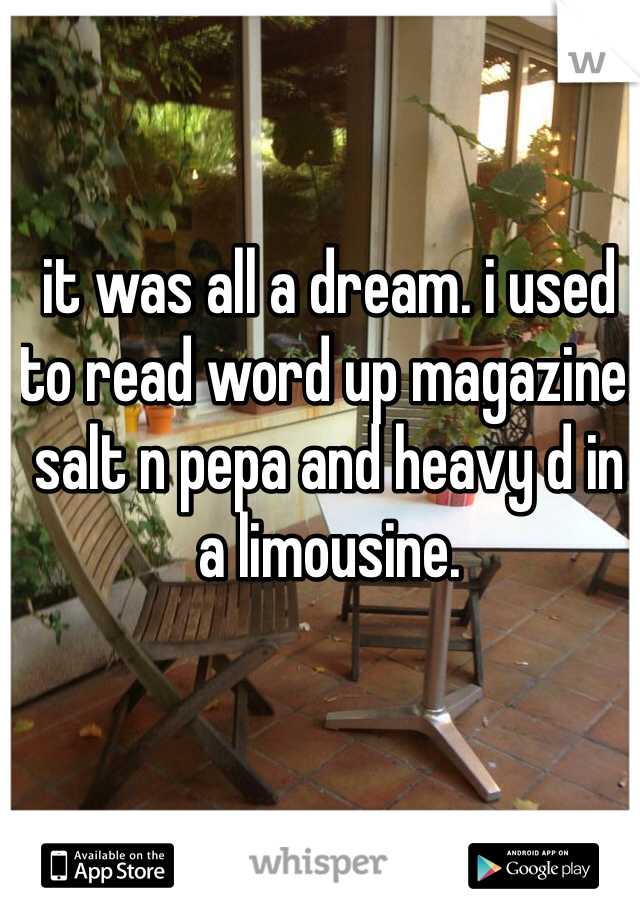 it was all a dream. i used to read word up magazine. salt n pepa and heavy d in a limousine.