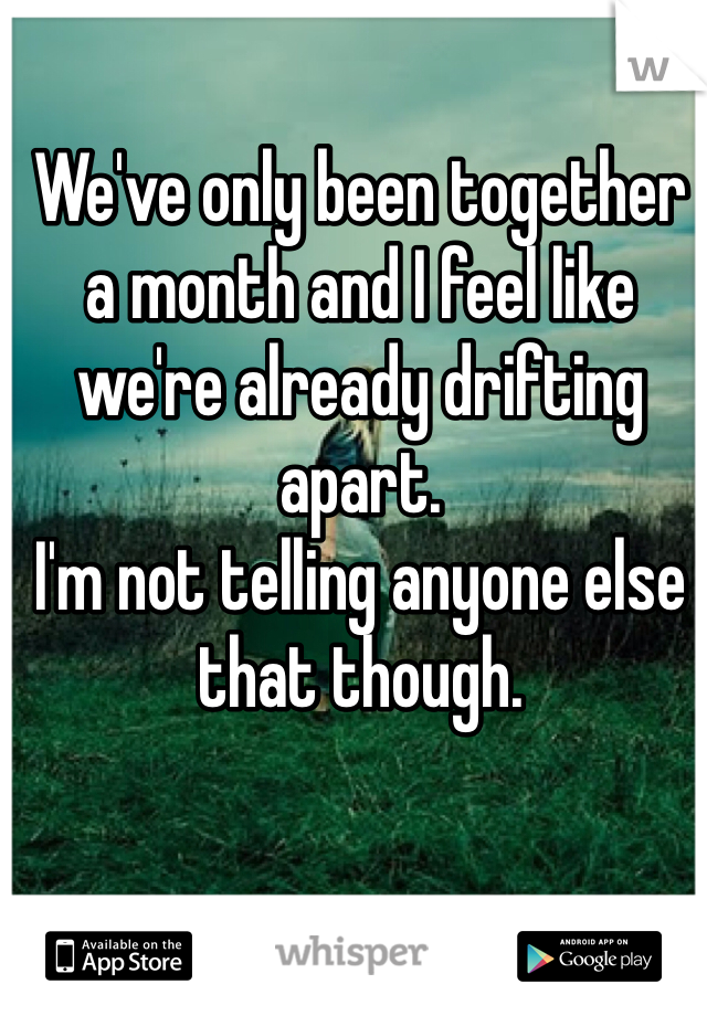 We've only been together a month and I feel like we're already drifting apart.  I'm not telling anyone else that though.