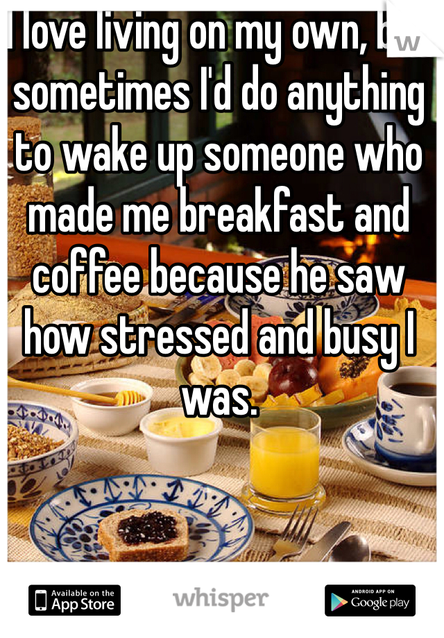 I love living on my own, but sometimes I'd do anything to wake up someone who made me breakfast and coffee because he saw how stressed and busy I was.