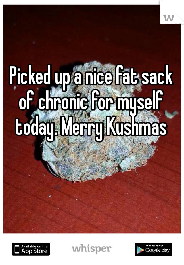 Picked up a nice fat sack of chronic for myself today. Merry Kushmas