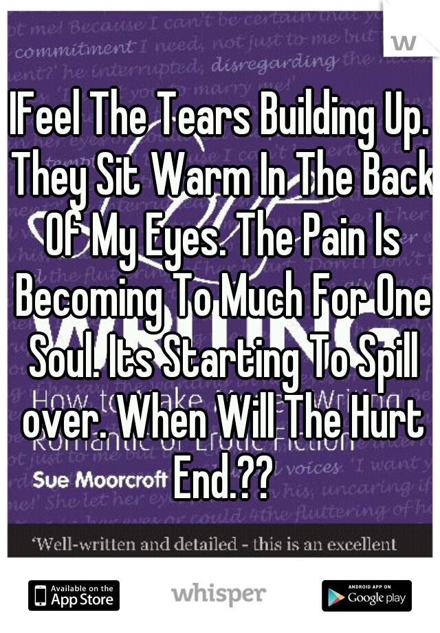 IFeel The Tears Building Up. They Sit Warm In The Back Of My Eyes. The Pain Is Becoming To Much For One Soul. Its Starting To Spill over. When Will The Hurt End.??