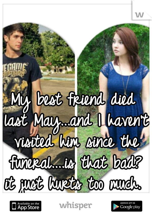 My best friend died last May...and I haven't visited him since the funeral....is that bad? it just hurts too much.